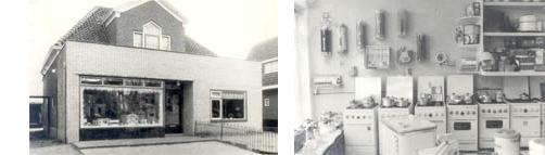 een oude zwart wit foto waar de witgoedreparatie service is begonnen